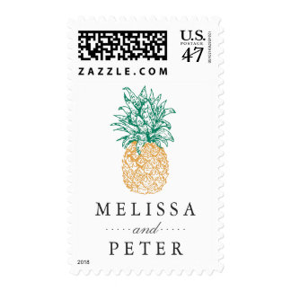 Vintage Pineapple Personalized Wedding Postage