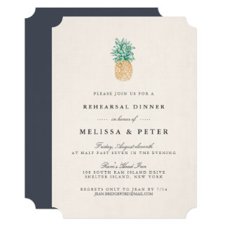 Vintage Pineapple Rehearsal Dinner Invitation