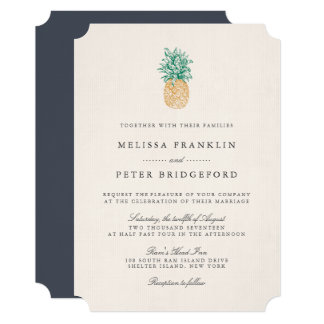 Vintage Pineapple Wedding Invitation
