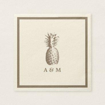 Beach Themed Vintage Pineapple Wedding Napkin