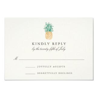 Vintage Pineapple Wedding RSVP Card