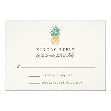 RedwoodAndVine Vintage Pineapple Wedding RSVP Card