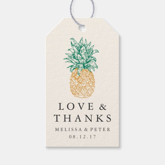 Wedding Thank You Gift Tags: Vintage Pineapple Wedding Thank You Favor Gift Tags