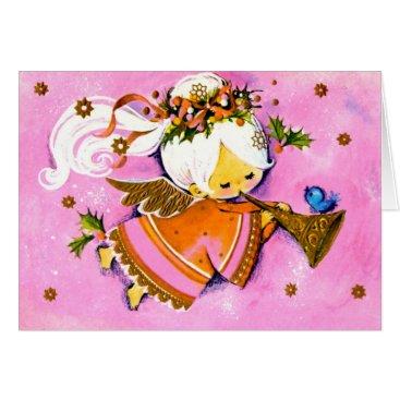 Christmas Themed Vintage Pink 1950's angel Christmas card