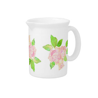 Vintage Pink Albertine Roses on White Drink Pitcher