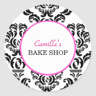 Vintage Pink and Black Damask Bakery Sticker Label