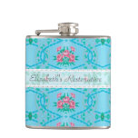 Vintage Pink and Blue Wallpaper With Name Hip Flasks