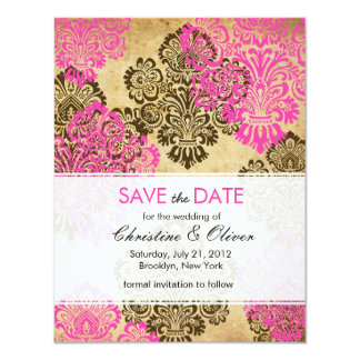 Vintage Pink and Brown Damask Save the Date Card