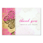 Vintage Pink and Brown Damask Thank You Card Personalized Invite