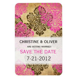 Vintage Pink and Brown Damask Wedding Magnet