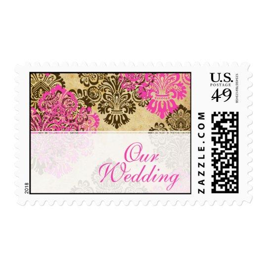 Vintage Pink and Brown Wedding Postage Stamp