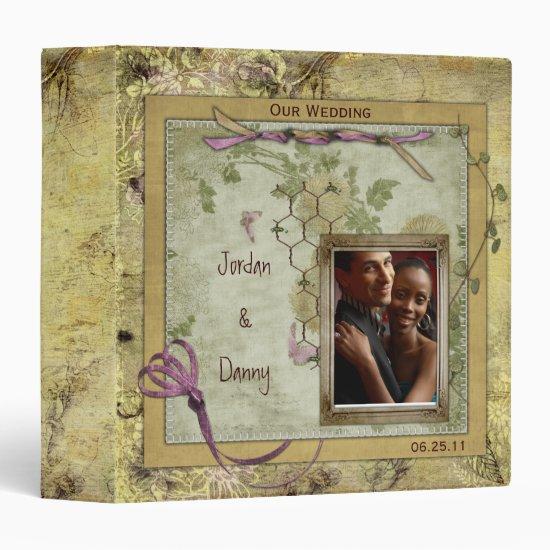 Vintage Pink and Gold Wedding Album Binder