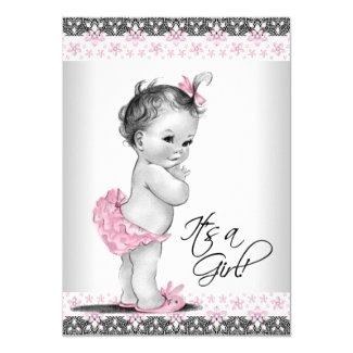 Vintage Pink and Gray Baby Girl Shower 5x7 Paper Invitation Card
