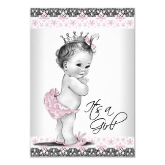 Good Vintage Pink And Gray Baby Girl Shower Card