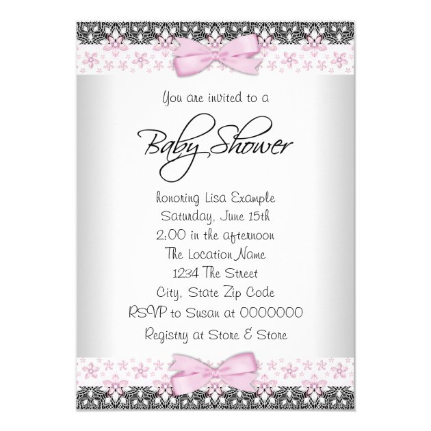 vintage pink and gray baby girl shower card | zazzle, Baby shower invitations