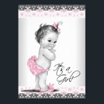 """Vintage Pink and Gray Baby Girl Shower Card<br><div class=""""desc"""">Adorable pink vintage baby girl shower invitation. This cute pink and black baby shower invitation is easily customized for your event by adding your event details,  font style,  font size &amp; color,  and wording.</div>"""