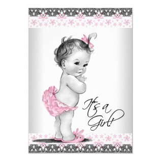 Vintage Pink and Gray Baby Girl Shower Card at Zazzle