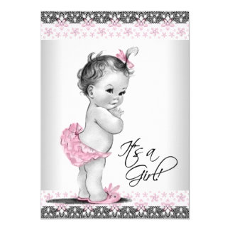 Vintage Pink and Gray Baby Girl Shower Card