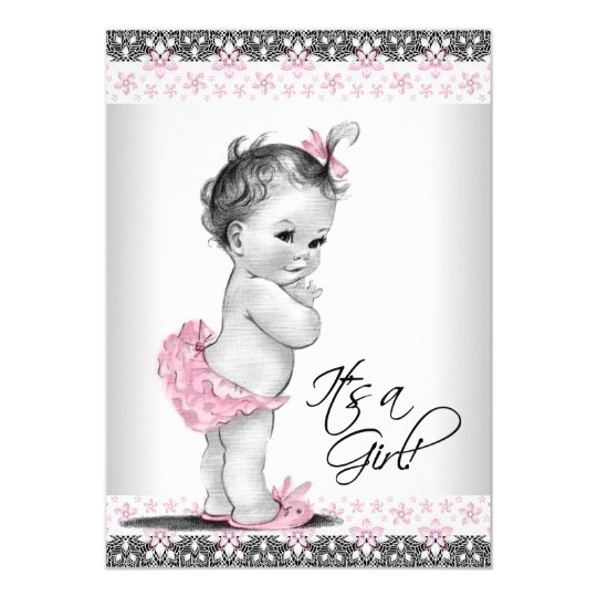 Marvelous Vintage Pink And Gray Baby Girl Shower Card