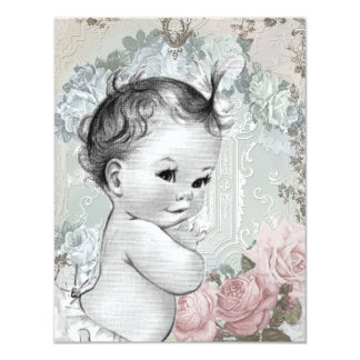 Vintage Pink and Gray Baby Girl Shower 4.25x5.5 Paper Invitation Card