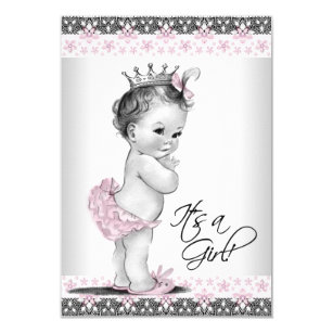 Vintage baby shower invitations announcements zazzle vintage pink and gray baby girl shower invitation filmwisefo