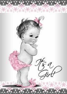 Vintage baby shower invitations zazzle vintage pink and gray baby girl shower invitation filmwisefo