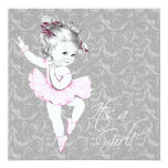Vintage Pink and Gray Baby Shower Custom Announcements