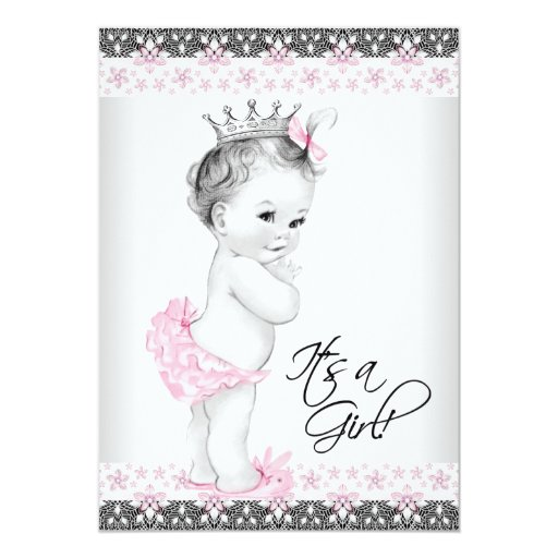 vintage pink and gray baby shower 5x7 paper invitation card zazzle