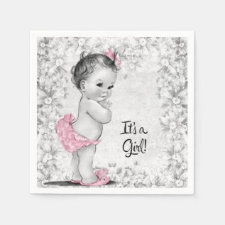 Vintage Pink and Gray Baby Shower Napkin at Zazzle