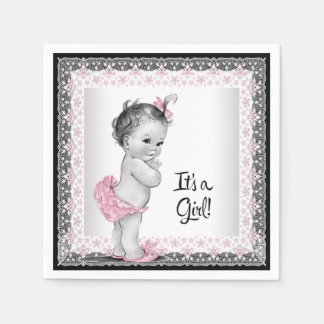 Vintage Pink and Gray Baby Shower Standard Cocktail Napkin