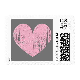 Vintage pink and gray heart stamps