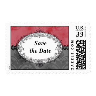 Vintage Pink and Gray Victorian Save Date Stamps