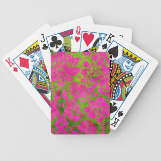 Vintage Pink and Green Damask Bicycle Playing Cards