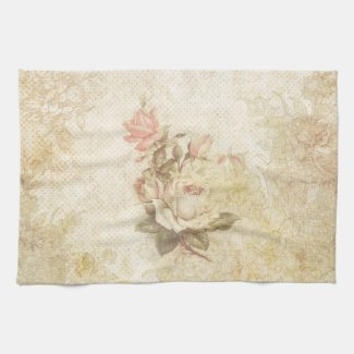 Vintage Pink and Ivory Rose Kitchen Towel