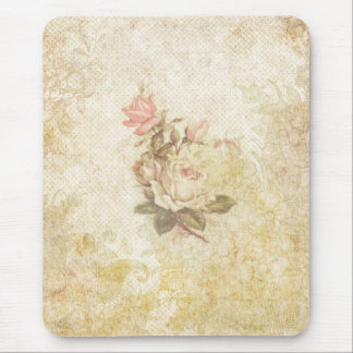 Vintage Pink and Ivory Rose Mouse Pad