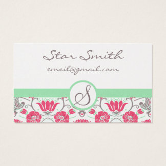 Vintage Pink and Mink Swirly Floral Pattern Business Card