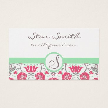 Professional Business Vintage Pink and Mink Swirly Floral Pattern Business Card
