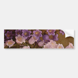 Vintage Pink and Purple Bell Flowers Car Bumper Sticker