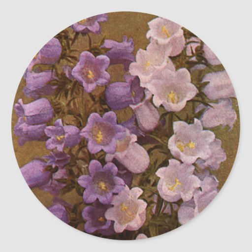 Vintage Pink and Purple Bell Flowers Stickers
