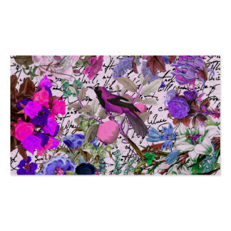 Vintage Pink and Purple Bird and Floral & Script Business Card