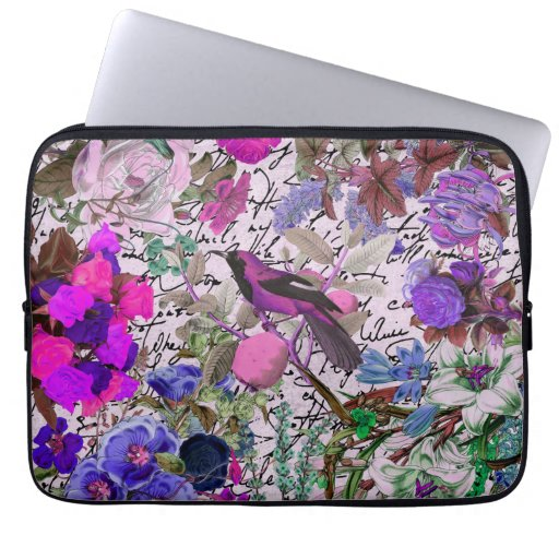 Vintage Pink and Purple Bird and Floral & Script Computer Sleeves