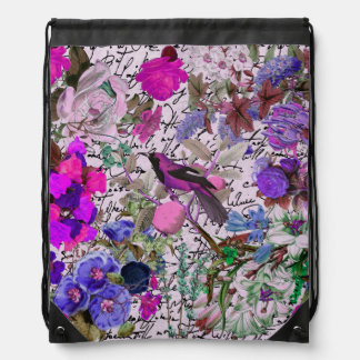 Vintage Pink and Purple Bird and Floral & Script Backpacks