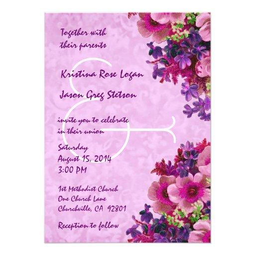 Vintage Pink And Purple Flowers Wedding R509 45 X 625 Invitation Card