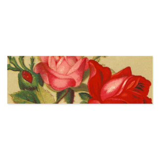 Vintage Pink and Red Roses Double-Sided Mini Business Cards (Pack Of 20)