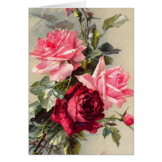 Vintage Pink and Red Roses Greeting Card