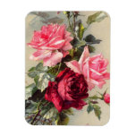 Vintage Pink and Red Roses Magnet