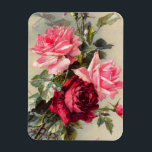 """Vintage Pink and Red Roses Magnet<br><div class=""""desc"""">Vintage Pink and Red Roses magnet. Oil painting on canvas from 1900. Paul de Longpre was a fantastic artist who painted some of the lovliest rose and flower paintings of the early twentieth century. This painting is one of Longpre's most dynamic rose painting featuring pink and red roses with wild...</div>"""