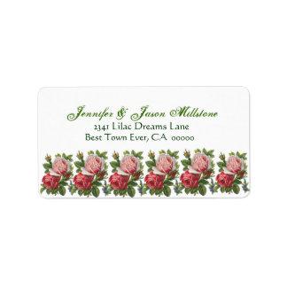 Vintage Pink and Red Roses Wedding Label Address Label