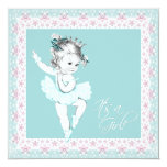 Vintage Pink and Teal Blue Baby Girl Shower Announcement