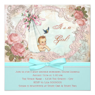 Vintage Pink and Teal Blue Baby Shower Card